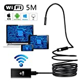 New WIFI Endoscope Inspection Camera, 5M HD 720P Waterproof Borescope Tube Camera Has Torch Light for Industry Inspection Car Testing Searching Compatible with Android, IOS, Windows System(8mm)