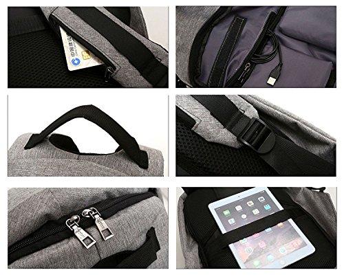 AUSERO Mochila Negocio Antirrobo Backpack Casual de Moda con USB Puerto de Carga para Portátil de 15.6 pulgadas Impermeable Hombre Mujer Unisex Viaje Escolar Negro azul
