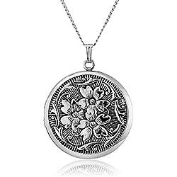 Embossed Antique finish Locket Necklace
