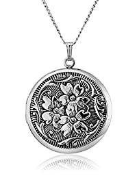 Sterling Silver Round Embossed Antique Finish Locket Necklace, 20""
