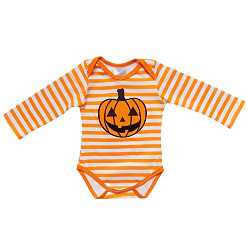 So Sydney Baby Infant Halloween Pirate Skull or Skeleton Tutu Chiffon Skirt Bodysuit Romper (XL (18-24 Months), Jack-O-Lantern Stripe)