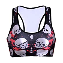 Lady Queen Women's Blood Skull Printed Impact Sport Bra for Running Yoga