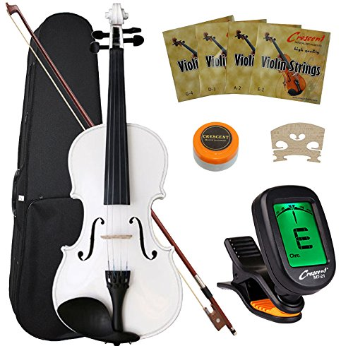 Amazon Crescent 4 Size Student Violin Starter Kit Purple Color Includes CrescentTM Digital E Tuner Musical Instruments