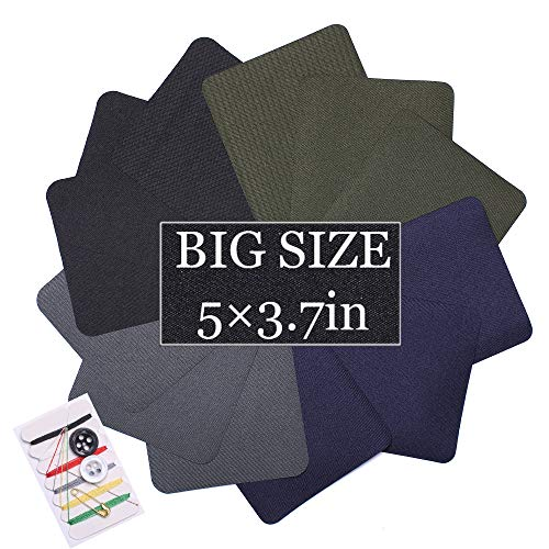 AXEN 12 Pieces Iron On Fabric Denim Patches for Clothing and DIY Repair Sewing Repair Patches Rectangle, 4 Colors