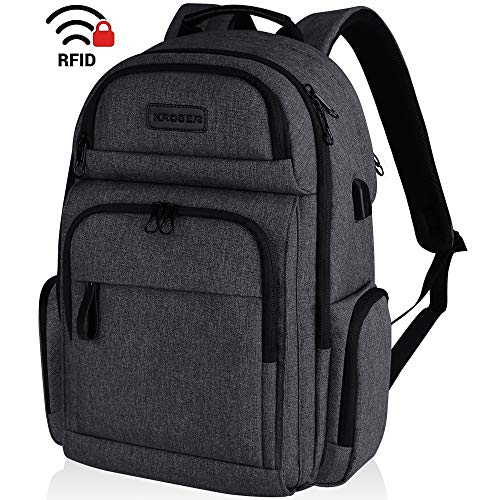 KROSER Travel Laptop Backpack Stylish 15.6 Inch Computer Backpack with Hard Shelled Saferoom Water-Repellent Sturdy School Daypack with RFID Pockets for Work/Business/College/Men/Women-Charcoal Black