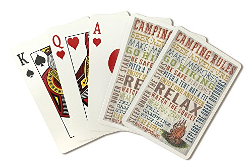 Camping Rules - Rustic Typography (Playing Card Deck - 52 Card Poker Size with Jokers) by Lantern Press