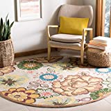 Safavieh Four Seasons Collection FRS467A Hand-Hooked Ivory and Brown Indoor/ Outdoor Round Area Rug (6' Diameter)