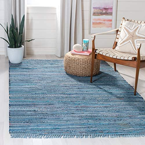 Safavieh Rag Rug Collection RAR127B Hand Woven Blue and Multi Cotton Area Rug 8 x 10