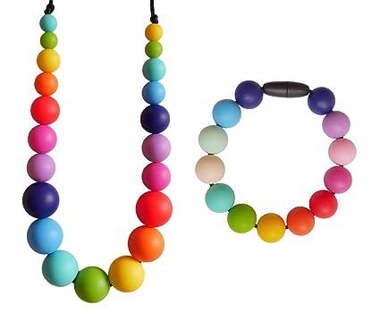 7321304a6b39 Rainbow Juego Collar y Pulsera Mordedores Silicona para Bebés Lactantes