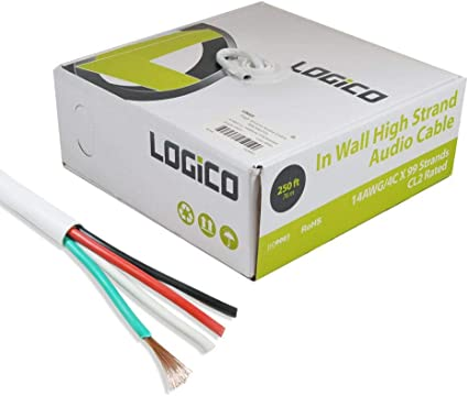 250 ft In Wall 16//4 16AWG Gauge 4 Conductor Speaker Wire Cable CL2 Bulk 250ft