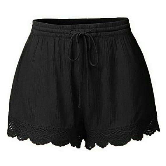 Luckycat Pantalones Cortos de Suelto para Mujer Talla Grande Leggings de Deportes Yoga Ejercicio Running Pantalón Corto de Pijama para Mujer Elástico ...