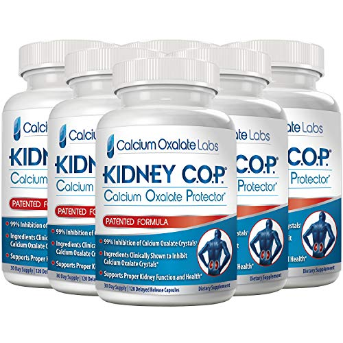 Kidney COP Calcium Oxalate Protector 120 Capsules, Patented Kidney Support for Calcium Oxalate Crystals, Helps Stops Recurrence of Stones, Stronger Than Chanca Piedra Stone Breaker Supplements 6 Pack