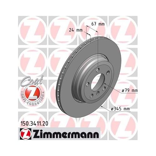 Zimmermann 150.3411.20 Brake Disc REAR Coat Z: