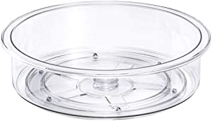 Slideep 9.8'' Round Lazy Susan Rotating Turntable Food Storage Container for Cabinet, Pantry, Refrigerator, Countertop, Spinning Organizer for Spices, Condiments, Baking Supplies
