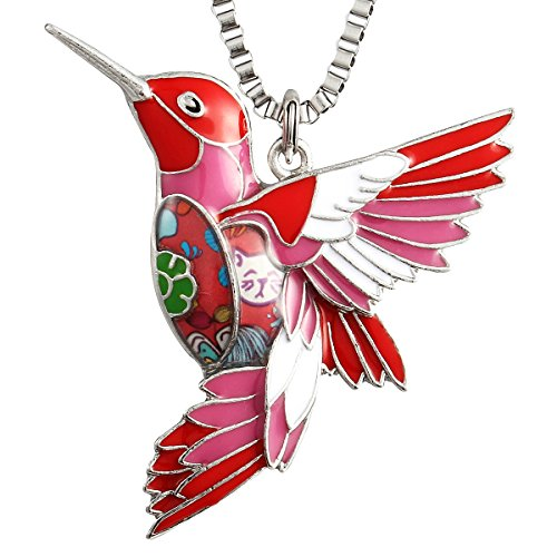 Luckeyui Cute Hummingbird Charm Necklaces Gifts for Girls Unique Colorful Bird Pendant Jewelry