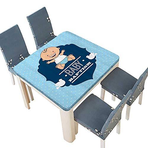 PINAFORE Table in Washable Polyeste Baptism Laughing Baby Boy Hope LIEF Symbol Joy Sacramento Celebrati Banquet Wedding Party Restaurant Tablecloth 37.5 x 37.5 INCH (Elastic Edge)