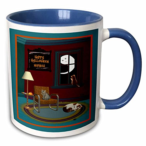 3dRose Beverly Turner Halloween Design - Ghost, Spider, and Cats in a Room, Happy Halloween Nephew - 15oz Two-Tone Blue Mug (mug_195884_11)]()