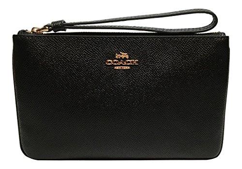 Coach Crossgrain Leather Large Wristlet F57465 (Black)