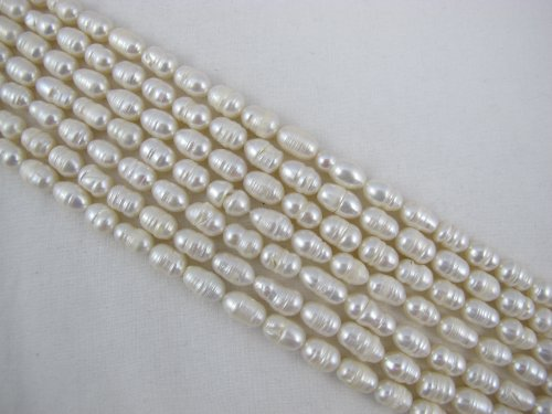BRCbeads Freshwater Pearl Rice Shape 5-6mm 14 Inch Per Strand