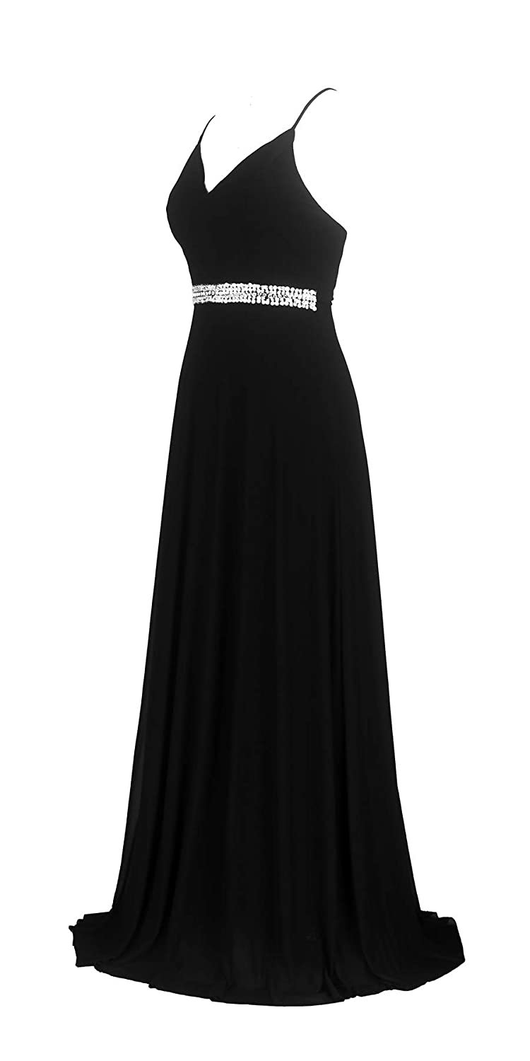 Black conail Coco Women's VNeckline Spaghetti Straps Beaded CrissCross Open Back Tulle Evening Prom Formal Dress