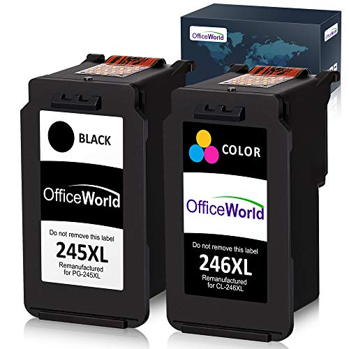 Office World Remanufactured Ink Cartridge Replacement for Canon PG-245XL 245XL CL-246XL 246XL PG-243 for Pixma MX492 MG2920 MG2520 iP2820 MG2922 MG2420 MG2522 MG3022 MG2924 (1 Black + 1 Tri-Color) (Best Price For Canon Ink Cartridges)