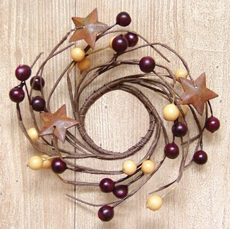 (Burgundy & Gold Pip Berry Twig Ring Mini Wreath Rusty Stars Country Primitive)