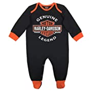 Harley-Davidson Baby Boys' Interlock B&S Footed Coveralls, Black 3050911 (6/9M)