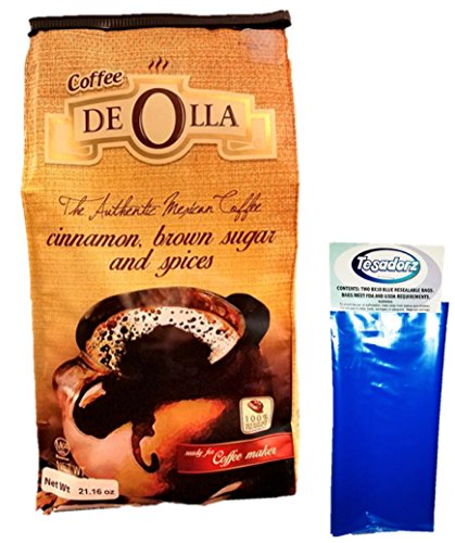 Cafe de Olla Mexican Ground Coffee with Tesadorz Reseable Bags Bundle