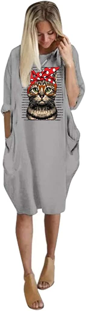 Huaya - Mini vestido con estampado de gato para mujer