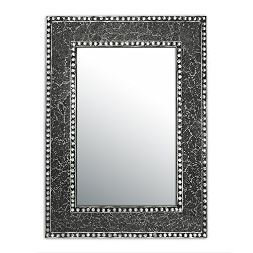 DecorShore 24'' x 18'' Crackled Glass Jewel Tone Mosaic Wall Mirror, Framed Rectangular Decorative Vanity Mirror, Accent Mirror, Gemstone Look (Black Onyx) by DecorShore