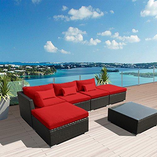 Modenzi 6L-U Outdoor Sectional Patio Furniture Espresso Brown Wicker Sofa Set (Red)