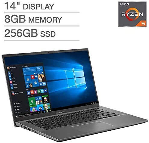 "Amazon.com: ASUS VivoBook F412DA 14"" Laptop - AMD Ryzen 5 - 1080p 8GB DDR4 RAM 256GB SATA Solid State Drive Backlit Chiclet Keyboard: Computers & Accessories"