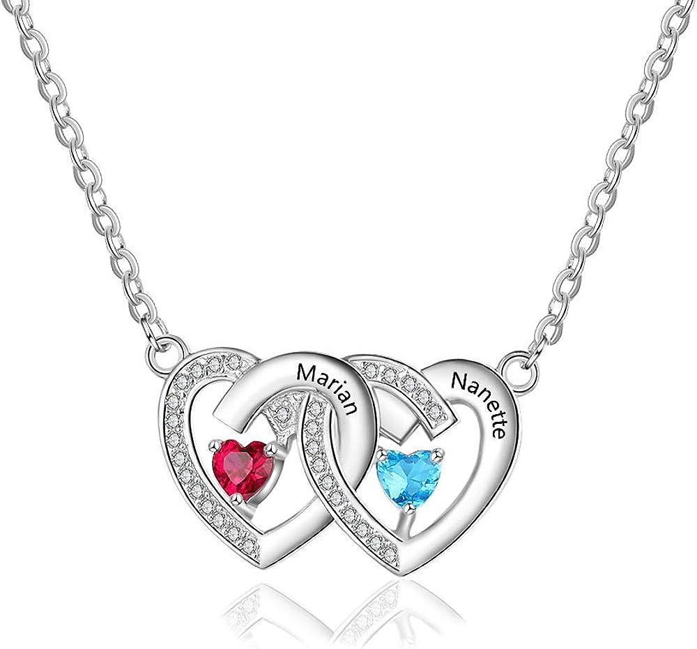 DaMei Collar Plata Mujer Personalizado con 2 Nombre Collares Plata de Ley 925 con 2 Piedras de Corazón Regalo para Novia Grabado Personalizado