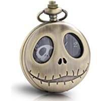 1x Vintage Skeleton Nightmare Before Christmas Pocket Watch with Chains for Men Boys Women Kids Pocket Watch Xmas Birthday Gift