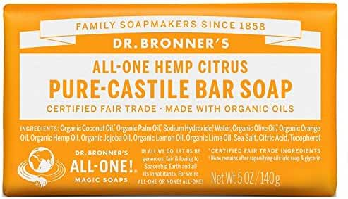 Dr. Bronner's Magic Soaps Pure-Castile Soap, All-One Hemp Citrus Orange, 5-Ounce Bars (Pack of 6)