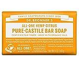 Dr. Bronner's Magic Soaps Pure-Castile Soap, All-One Hemp Citrus Orange, 5-Ounce Bars (Pack of 6)