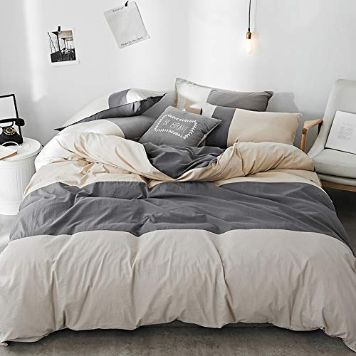 mixinni Cotton Hotel Collection 3 Piece Grey/Beige Striped Patchwork King Duvet Cover Set with Zipper Ties,Includes 1 Duvet Cover, 2 ()