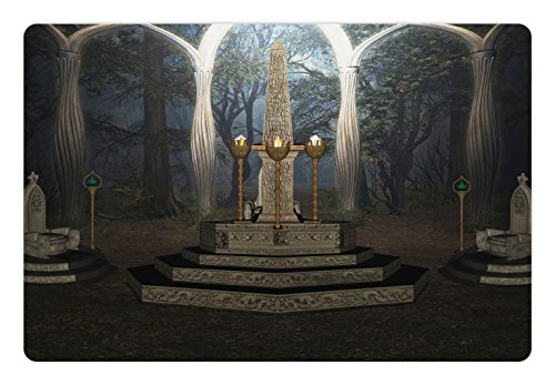 Ambesonne Gothic Pet Mat for Food and Water, The Ritual Scenery in Secret Forest Obelisk Between Marble Thrones with Skull Engraving, Rectangle Non-Slip Rubber Mat for Dogs and Cats, - Obelisk Easy