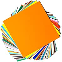 "Permanent Adhesive Backed Vinyl Sheets by EZ Craft USA - 12"" x 12"" - 40 Sheets Assorted Colors Works with Cricut and..."