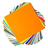 "Permanent Adhesive Backed Vinyl Sheets - EZ Craft USA - 12"" x 12"" - 40 Sheets Assorted Colors Works With Cricut and Other Cutters"