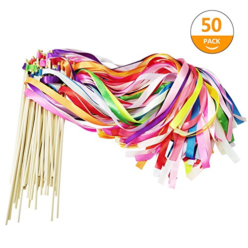CODOHI 50 Pack Ribbon Fairy Wands Party Sticks Streamers with Bells for Kids Birthday Favors-Waving in the Dance Party-Mixed Color by CODOHI