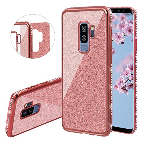 (YiCTe Glitter Case for Galaxy S9 Plus [Not for Samsung Galaxy S9],Luxury Bling Diamond Sparkle Rhinestone Plating Cover Shockproof Crystal Slim TPU Silicone Case for Samsung Galaxy S9 Plus,Rose Gold)