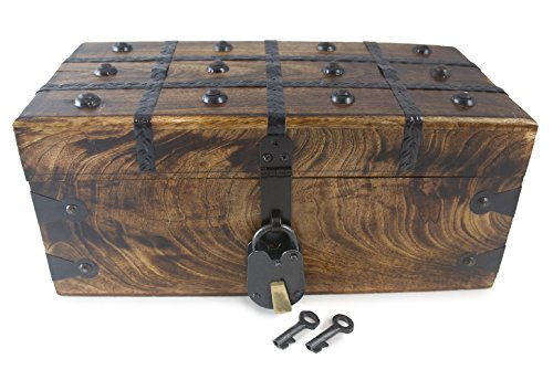 """Well Pack Box Treasure Chest Pirate Large 12"""" x 6"""" x 5"""" Wooden Locking Party Toy Box Nautical Accessory for Kids"""