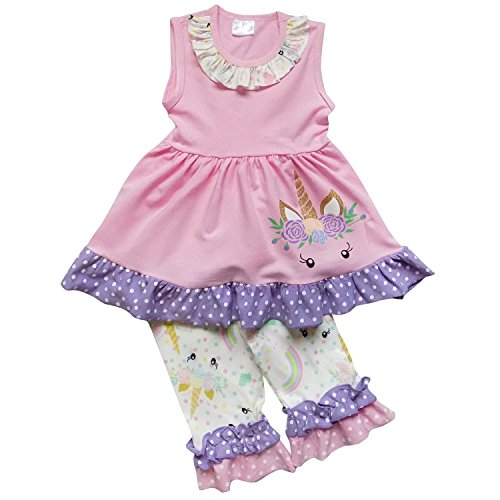 So Sydney Girls Toddler 2-4 Pc Novelty Spring Summer Top Capri Set Accessories (S (3T), Peek-a-Boo Unicorn Pink)