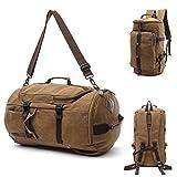 Canvas Travel Duffel Tote Multipurpose Luggage Bag Convertible Backpack Hiking Rucksack Brown