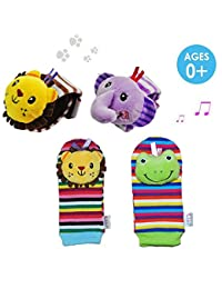 Daisy 4 Packs Adorable Animal Infant Baby Wrist Rattle & Foot Finder Socks Best Gift Developmental Toys Set - Lion and Elephant BOBEBE Online Baby Store From New York to Miami and Los Angeles