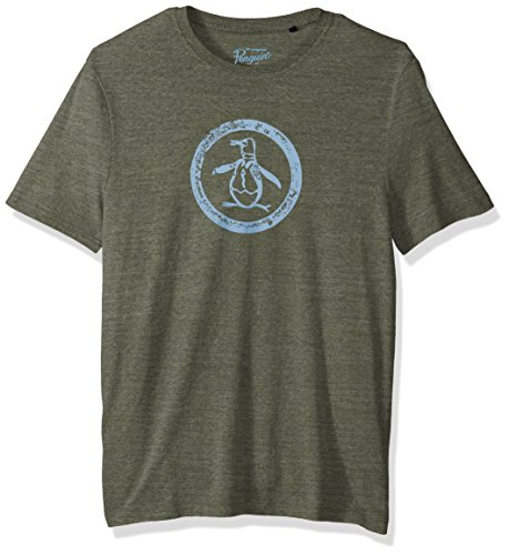 Original Penguin Men's Short Sleeve Triblend Circle Logo Tee, Forest Night, Large