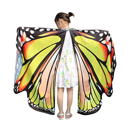 Kid Baby Girl Butterfly Wings Shawl Scarves Nymph Pixie Poncho Costume Accessory (Yellow, One Size)