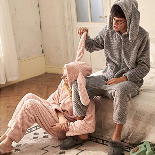 Lindo Coral color S Size Orejas Pijamas A Polar Otoño Dormir Conejo Dibujos Ropa Servicio Invierno Onesies Pareja E Pink De Animados Pink Domicilio q8v8wnAfU
