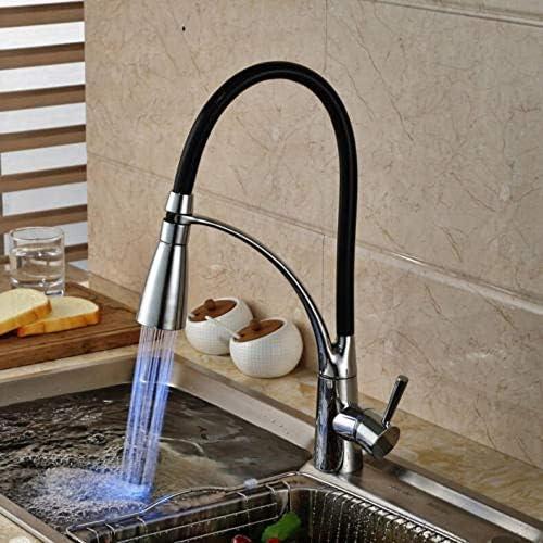 キッチン蛇口 LEDキッチンシンクの蛇口ブラッククロームメッキコールドホットプルアウトは、蛇口のミキサータップスプレー (色 : ブラック, サイズ : ワンサイズ)